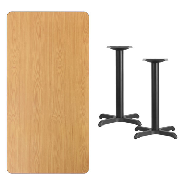 Lowest Price 30'' x 60'' Rectangular Natural Laminate Table Top with 22'' x 22'' Table Height Bases