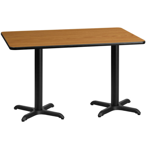 Wholesale 30'' x 60'' Rectangular Natural Laminate Table Top with 22'' x 22'' Table Height Bases