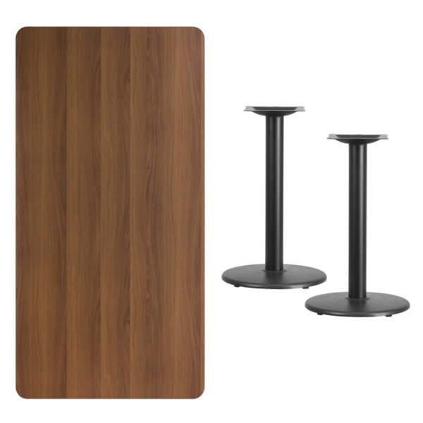 Lowest Price 30'' x 60'' Rectangular Walnut Laminate Table Top with 18'' Round Table Height Bases