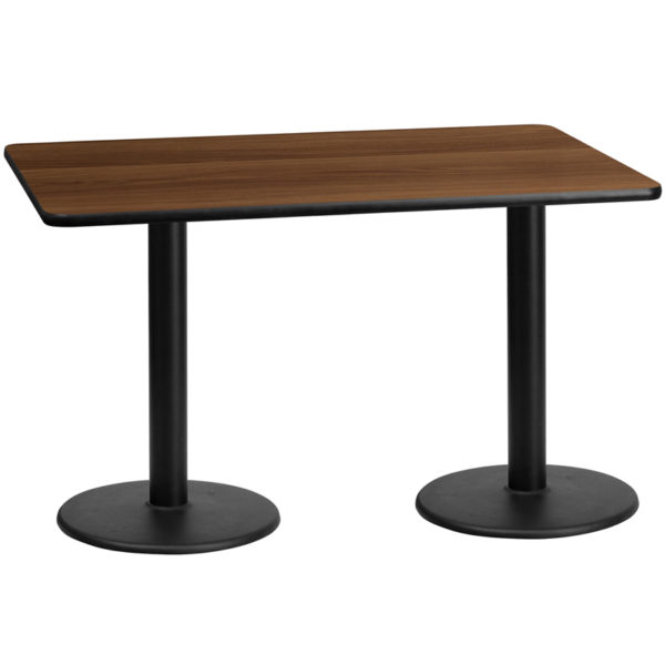 Wholesale 30'' x 60'' Rectangular Walnut Laminate Table Top with 18'' Round Table Height Bases