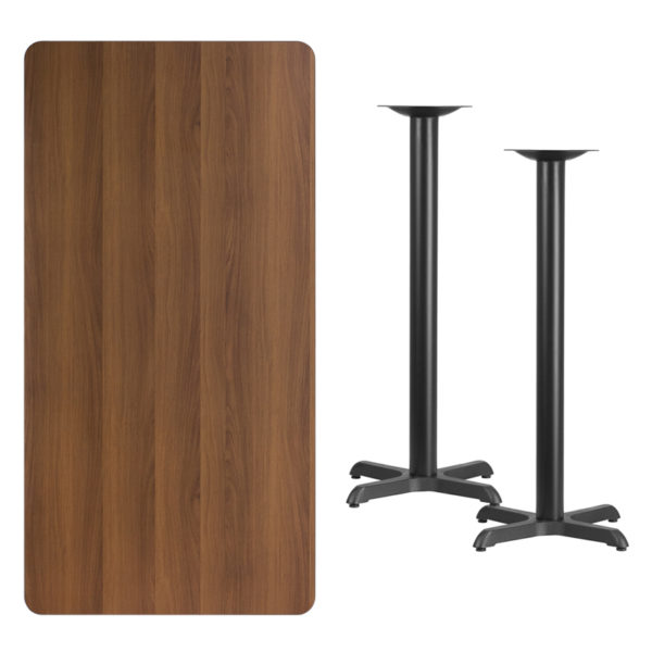 Lowest Price 30'' x 60'' Rectangular Walnut Laminate Table Top with 22'' x 22'' Bar Height Table Bases