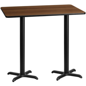 Wholesale 30'' x 60'' Rectangular Walnut Laminate Table Top with 22'' x 22'' Bar Height Table Bases