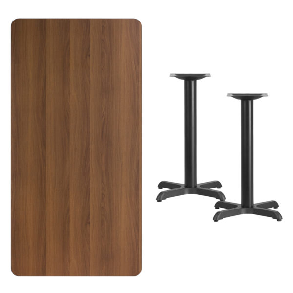 Lowest Price 30'' x 60'' Rectangular Walnut Laminate Table Top with 22'' x 22'' Table Height Bases