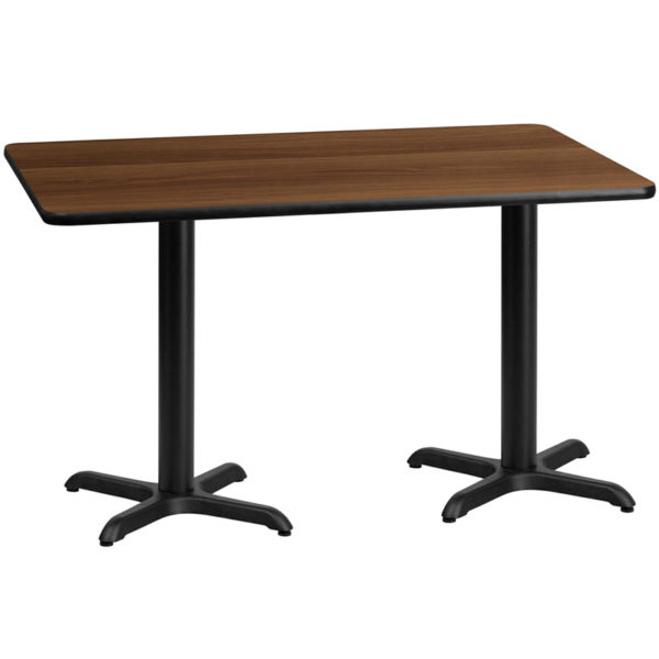 Wholesale 30'' x 60'' Rectangular Walnut Laminate Table Top with 22'' x 22'' Table Height Bases