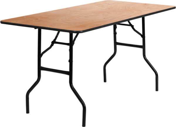 Wholesale 30'' x 60'' Rectangular Wood Folding Banquet Table with Clear Coated Finished Top