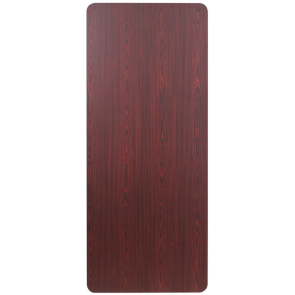 Lowest Price 30'' x 72'' Rectangular Mahogany Melamine Laminate Folding Banquet Table