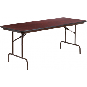 Wholesale 30'' x 72'' Rectangular Mahogany Melamine Laminate Folding Banquet Table