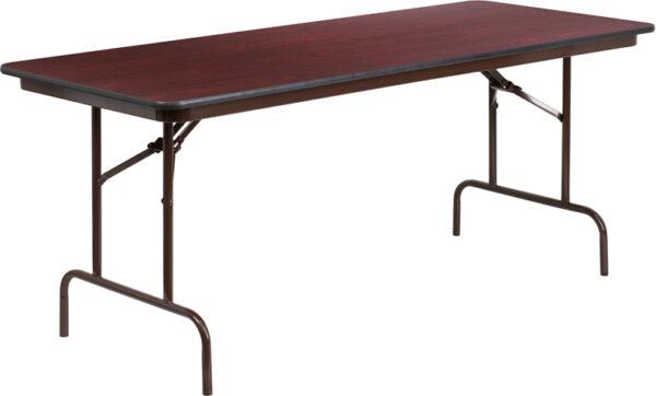 Wholesale 30'' x 72'' Rectangular Mahogany Melamine Laminate Folding Banquet Table