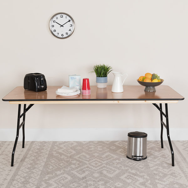 Lowest Price 30'' x 72'' Rectangular Wood Folding Banquet Table with Clear Coated Finished Top