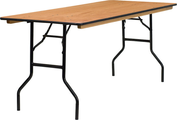 Wholesale 30'' x 72'' Rectangular Wood Folding Banquet Table with Clear Coated Finished Top