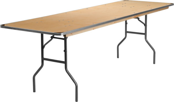 Wholesale 30'' x 96'' Rectangular HEAVY DUTY Birchwood Folding Banquet Table with METAL Edges and Protective Corner Guards