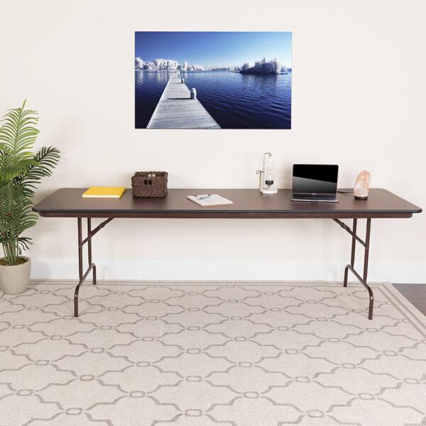 Lowest Price 30'' x 96'' Rectangular High Pressure Mahogany Laminate Folding Banquet Table