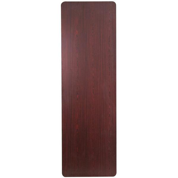 Ready To Use Banquet Table 30x96 Mahogany Wood Fold Table