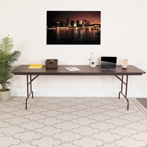 Lowest Price 30'' x 96'' Rectangular Mahogany Melamine Laminate Folding Banquet Table