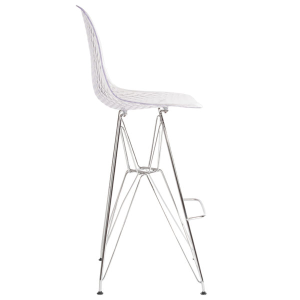 """Lowest Price 30.25"""" High Clear Acrylic Barstool with Chrome Legs"""