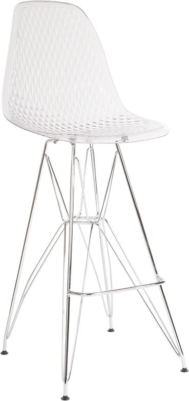 """Wholesale 30.25"""" High Clear Acrylic Barstool with Chrome Legs"""