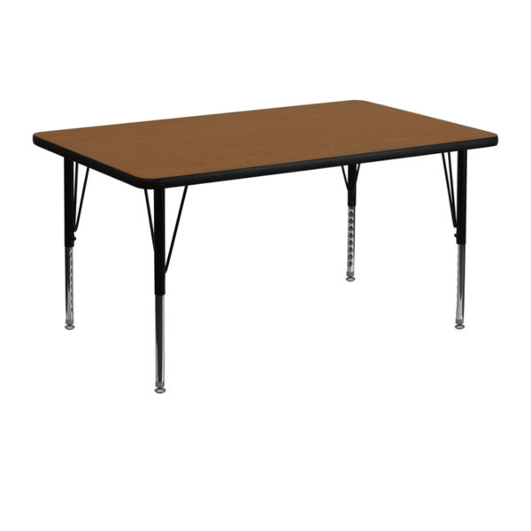 Wholesale 30''W x 48''L Rectangular Oak HP Laminate Activity Table - Height Adjustable Short Legs