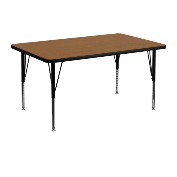 Wholesale 30''W x 48''L Rectangular Oak Thermal Laminate Activity Table - Height Adjustable Short Legs