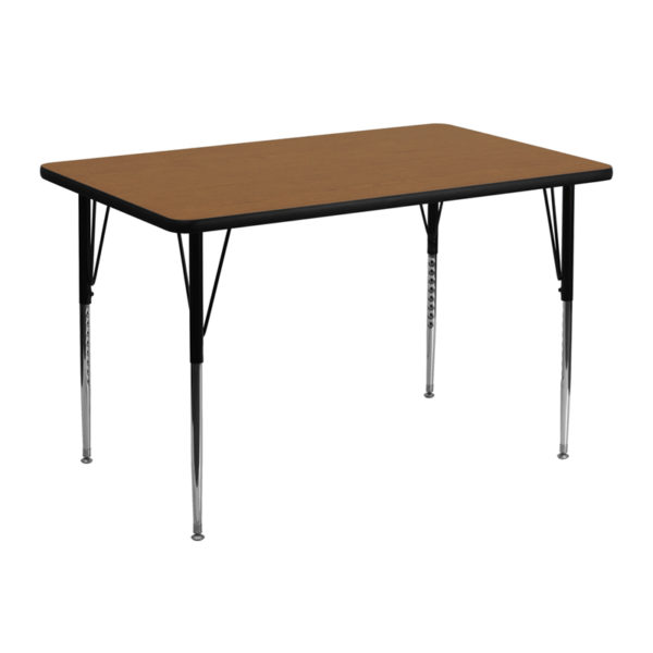 Wholesale 30''W x 48''L Rectangular Oak Thermal Laminate Activity Table - Standard Height Adjustable Legs
