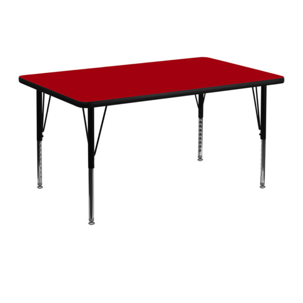 Wholesale 30''W x 48''L Rectangular Red Thermal Laminate Activity Table - Height Adjustable Short Legs