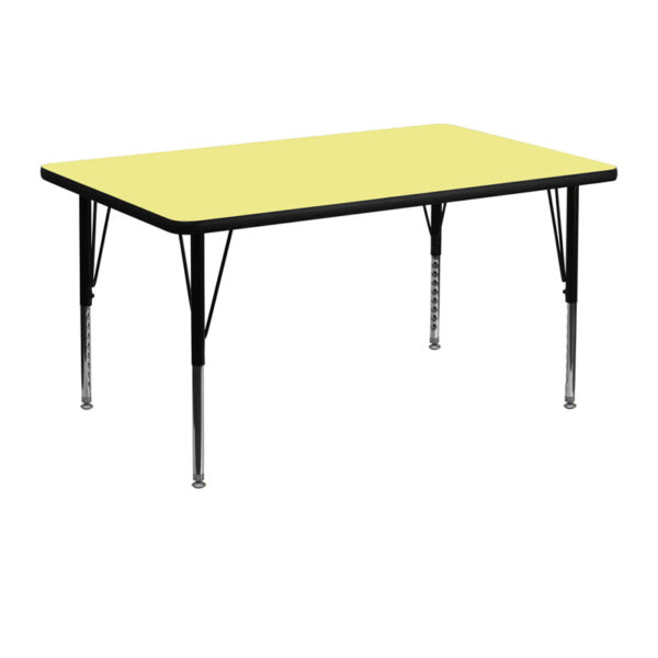 Wholesale 30''W x 48''L Rectangular Yellow Thermal Laminate Activity Table - Height Adjustable Short Legs