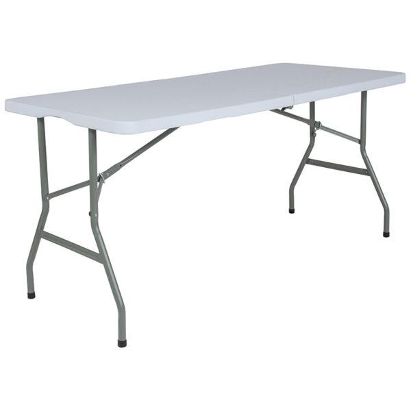 Wholesale 30''W x 60''L Bi-Fold Granite White Plastic Folding Table