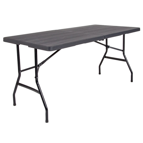 Wholesale 30''W x 60''L Bi-Fold Wood Grain Plastic Folding Table