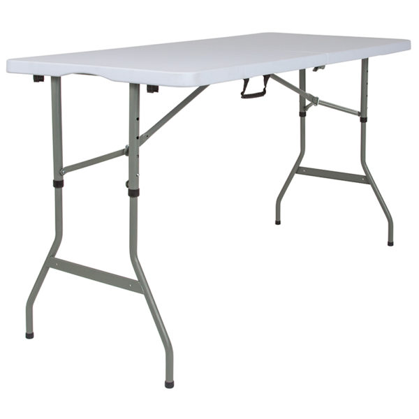 "Lowest Price 30""W x 60""L Height Adjustable Bi-Fold Granite White Plastic Banquet and Event Folding Table with Carrying Handle"