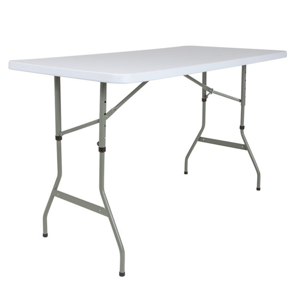 Lowest Price 30''W x 60''L Height Adjustable Granite White Plastic Folding Table