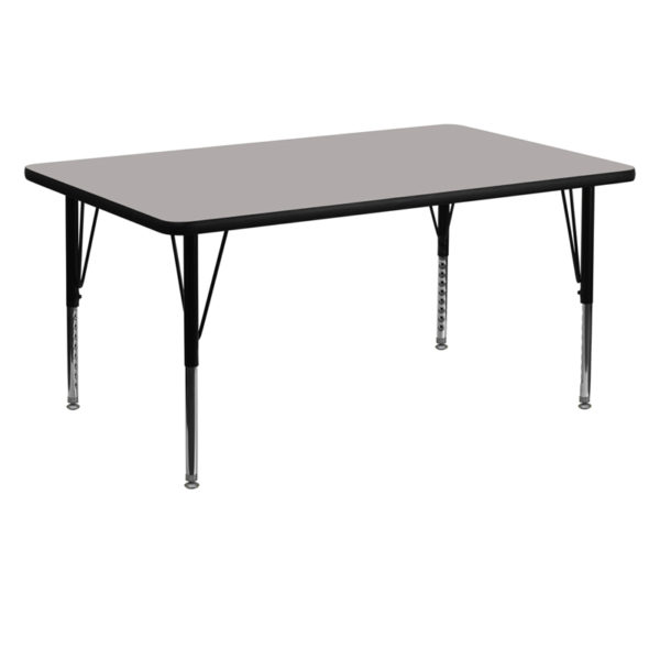 Wholesale 30''W x 60''L Rectangular Grey HP Laminate Activity Table - Height Adjustable Short Legs