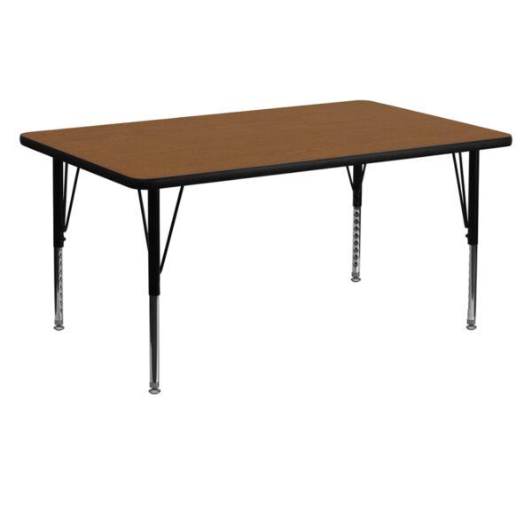 Wholesale 30''W x 60''L Rectangular Oak HP Laminate Activity Table - Height Adjustable Short Legs