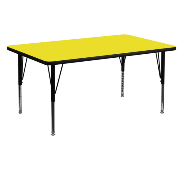 Wholesale 30''W x 60''L Rectangular Yellow HP Laminate Activity Table - Height Adjustable Short Legs