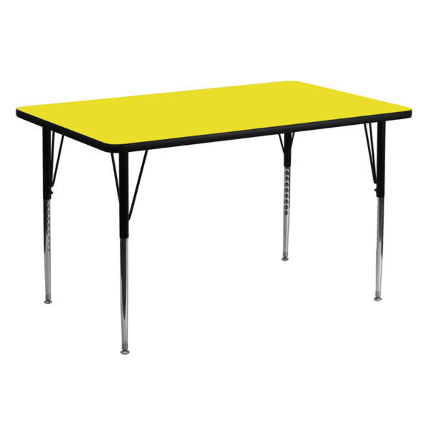 Wholesale 30''W x 60''L Rectangular Yellow HP Laminate Activity Table - Standard Height Adjustable Legs