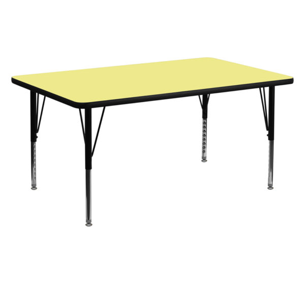 Wholesale 30''W x 60''L Rectangular Yellow Thermal Laminate Activity Table - Height Adjustable Short Legs