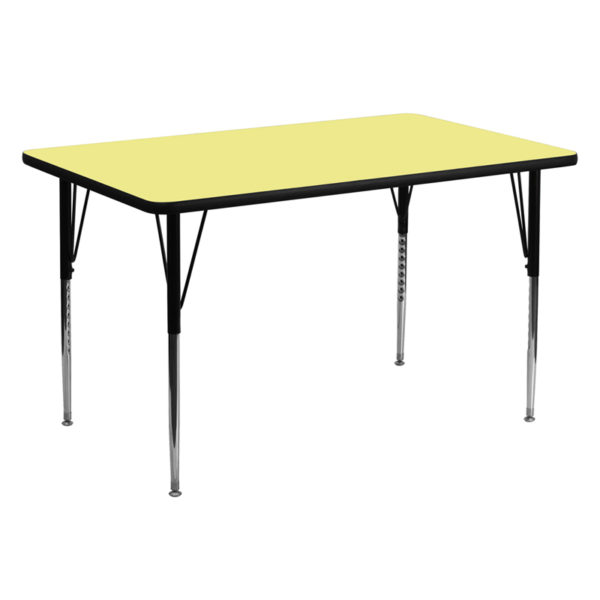 Wholesale 30''W x 60''L Rectangular Yellow Thermal Laminate Activity Table - Standard Height Adjustable Legs