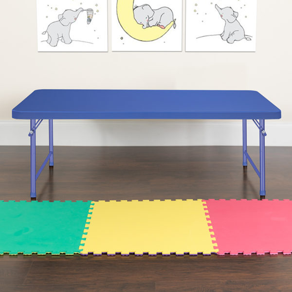 Lowest Price 30''W x 60''L x 19''H Kid's Blue Plastic Folding Table