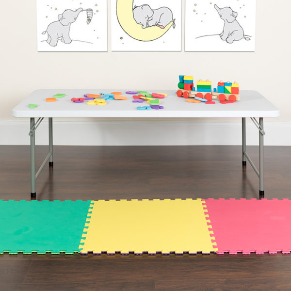 Lowest Price 30''W x 60''L x 19''H Kid's Granite White Plastic Folding Table