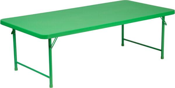 Wholesale 30''W x 60''L x 19''H Kid's Green Plastic Folding Table
