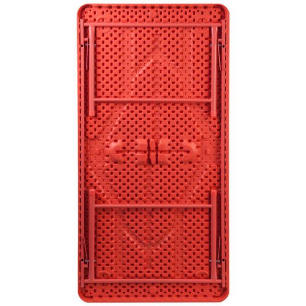 Lowest Price 30''W x 60''L x 19''H Kid's Red Plastic Folding Table