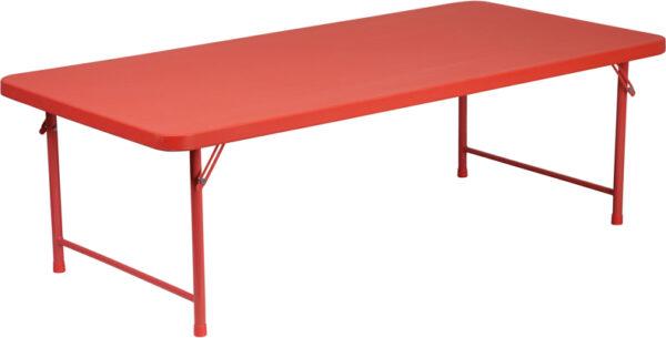 Wholesale 30''W x 60''L x 19''H Kid's Red Plastic Folding Table