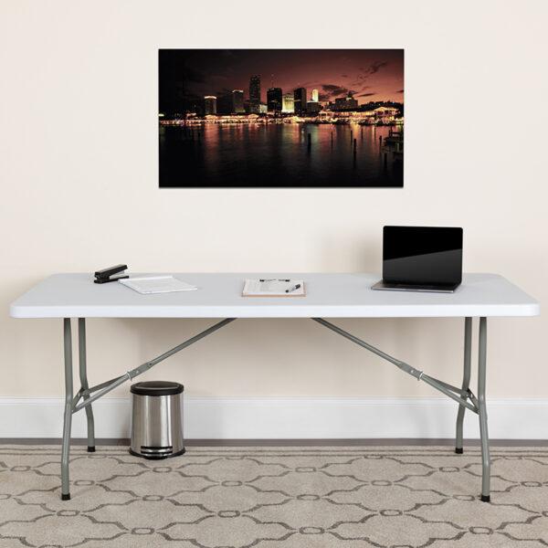 Lowest Price 30''W x 72''L Granite White Plastic Folding Table