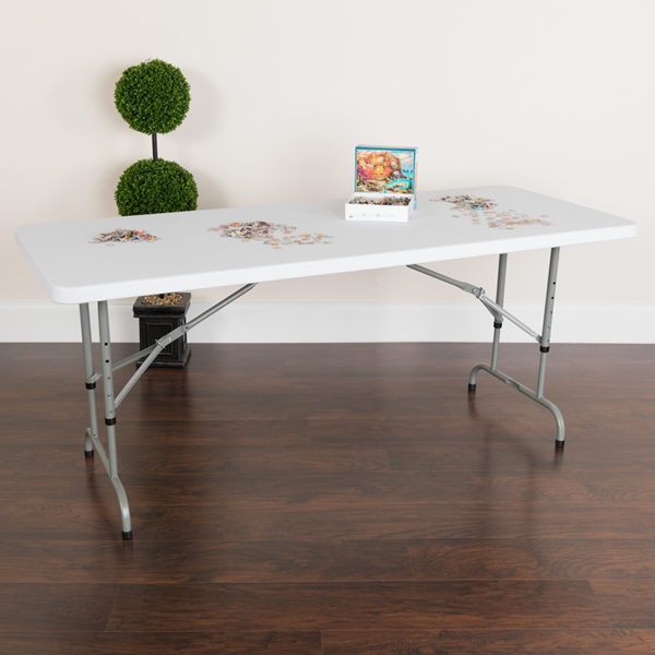 Lowest Price 30''W x 72''L Height Adjustable Granite White Plastic Folding Table