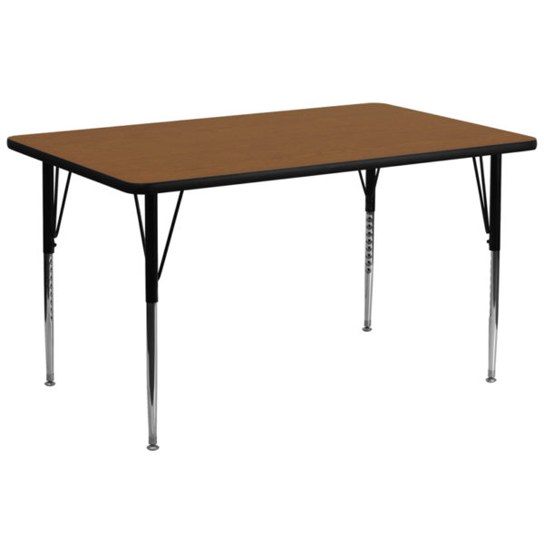 Wholesale 30''W x 72''L Rectangular Oak HP Laminate Activity Table - Standard Height Adjustable Legs
