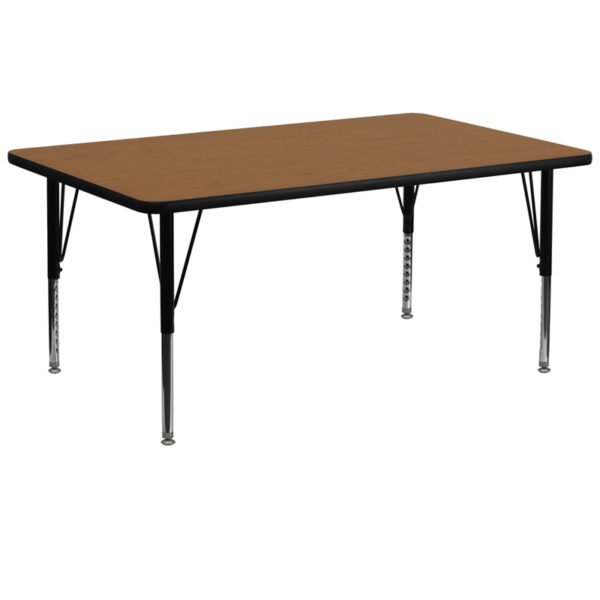Wholesale 30''W x 72''L Rectangular Oak Thermal Laminate Activity Table - Height Adjustable Short Legs