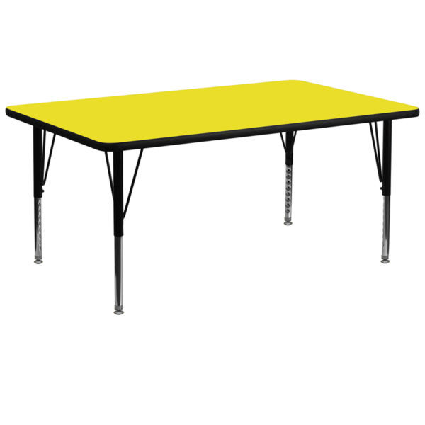 Wholesale 30''W x 72''L Rectangular Yellow HP Laminate Activity Table - Height Adjustable Short Legs