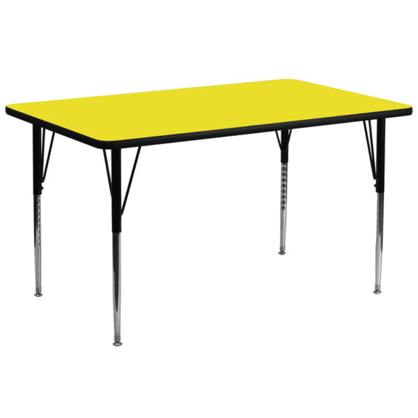 Wholesale 30''W x 72''L Rectangular Yellow HP Laminate Activity Table - Standard Height Adjustable Legs