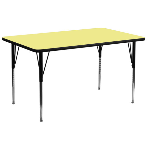 Wholesale 30''W x 72''L Rectangular Yellow Thermal Laminate Activity Table - Standard Height Adjustable Legs