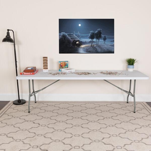Lowest Price 30''W x 96''L Granite White Plastic Folding Table