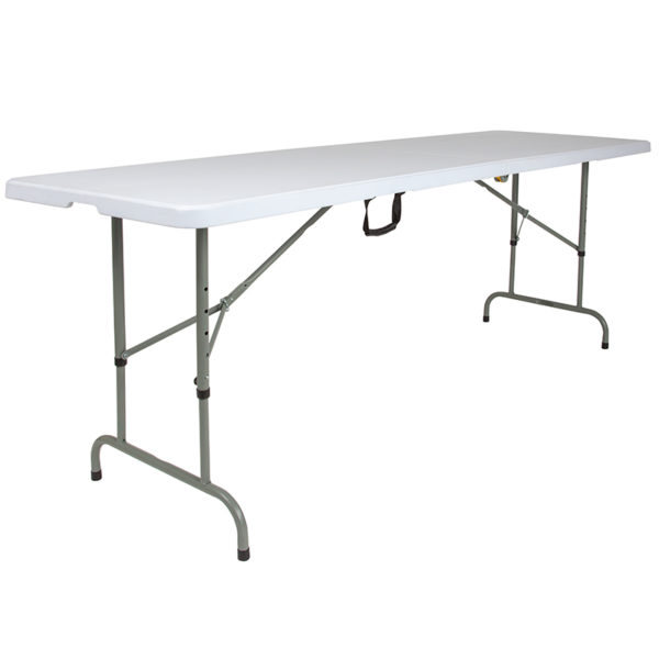 "Lowest Price 30""W x 96""L Height Adjustable Bi-Fold Granite White Plastic Banquet and Event Folding Table with Carrying Handle"