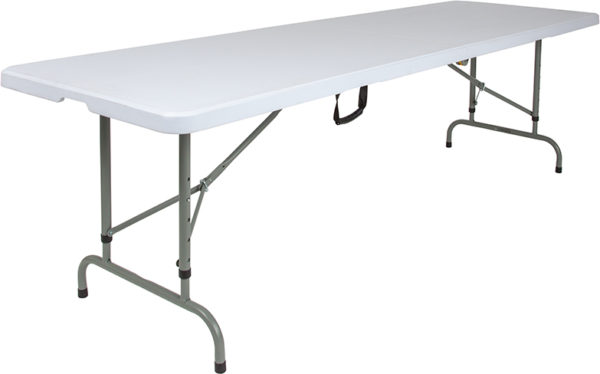 "Wholesale 30""W x 96""L Height Adjustable Bi-Fold Granite White Plastic Banquet and Event Folding Table with Carrying Handle"